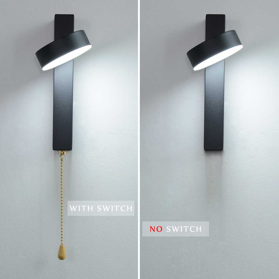 LED Wall Lamp With Switch 7W 9W Bedroom Living Room Nordic Modern Wall Light Aisle Study Reading Sconce White Black Wall Lamps