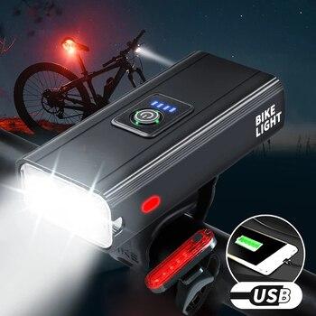 1600 lumens bicicleta farol à prova de chuva frente lâmpada usb recarregável luzes conjunto t6 led poderosa lanterna mtb acessórios 1