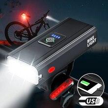 1600 Lumens Bicycle Headlight Rainproof Front Lamp USB Rechargeable Bike Lights Set T6 Led Powerful Flashlight Mtb Accessories