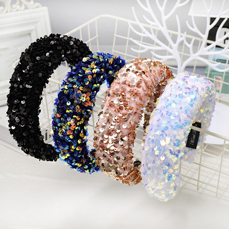 Women Girl Glitter Sequins Wide Headband Reflective Colorful Sponge Padded Hair Hoop Party Styling Thick Boutique Headwear