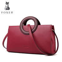 FOXER Lady Elegant Hand Bags Cowhide Women Stylish Shoulder Bag Leather Tote Female Luxury Messenger Bag Fashion Brand Bag Purse
