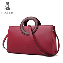 FOXER Lady Elegant Hand Bags Cowhide Women Stylish Shoulder Bag Leather Tote Female Luxury Messenger Bag Fashion Brand Bag Purse new brand women handbag top natural cowhide women messenger bags luxury genuine leather shoulder bag fashion female tote bag