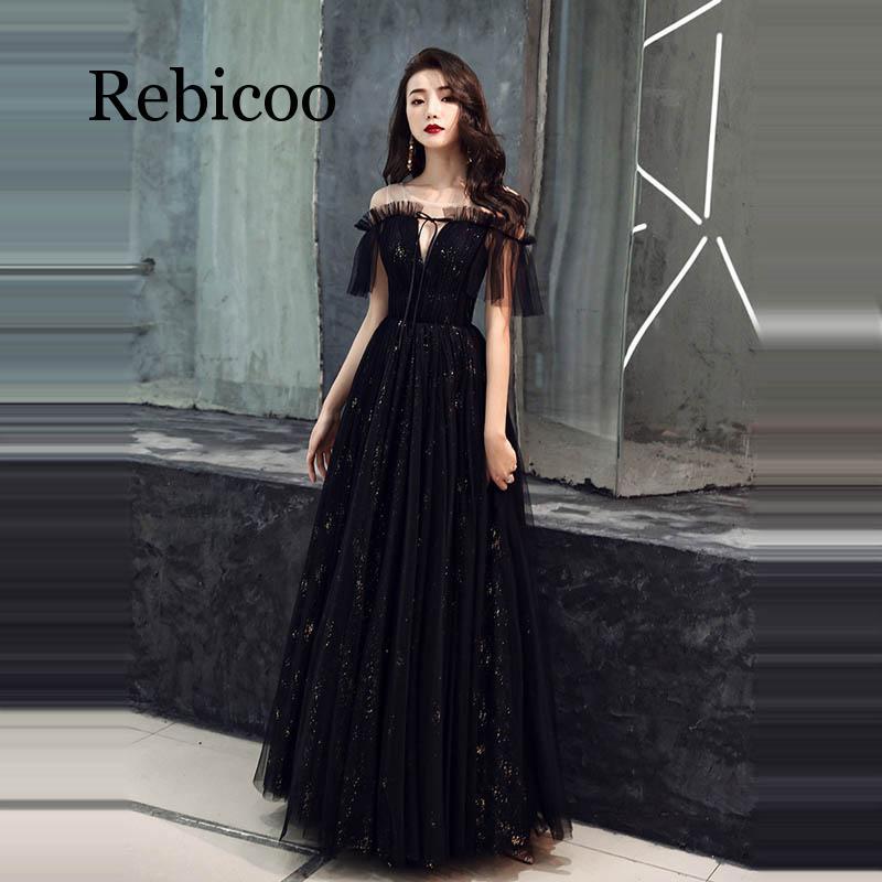 Kadın Giyim'ten Elbiseler'de 2019 yeni tek omuz moda parlak siyah yansıtıcı elbise zarif straplez A line İnce uzun elbise'da  Grup 1
