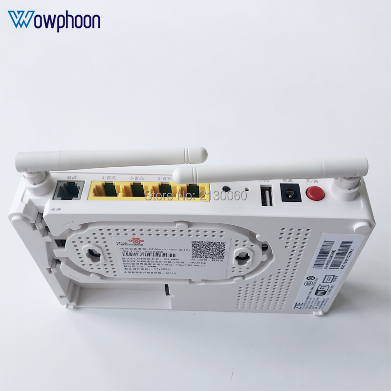 2019 New Model ZTE F677 GPON ONU 1GE+3FE+1Tel+1USB+Wifi Same Function F623 F663N F660, English Version With China Unicom LOGO