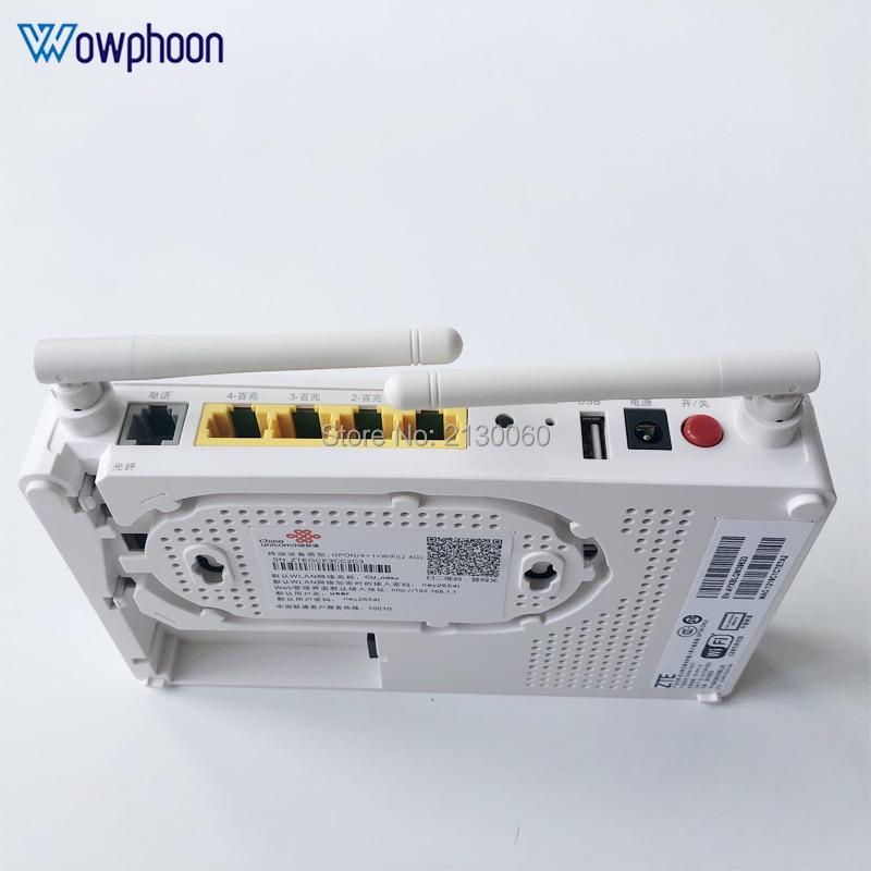 2019 New Model ZTE F677 GPON ONU 1GE+3FE+1Tel+1USB+Wifi Same Function F623 F663N F660, English Version With China Unicom LOGO