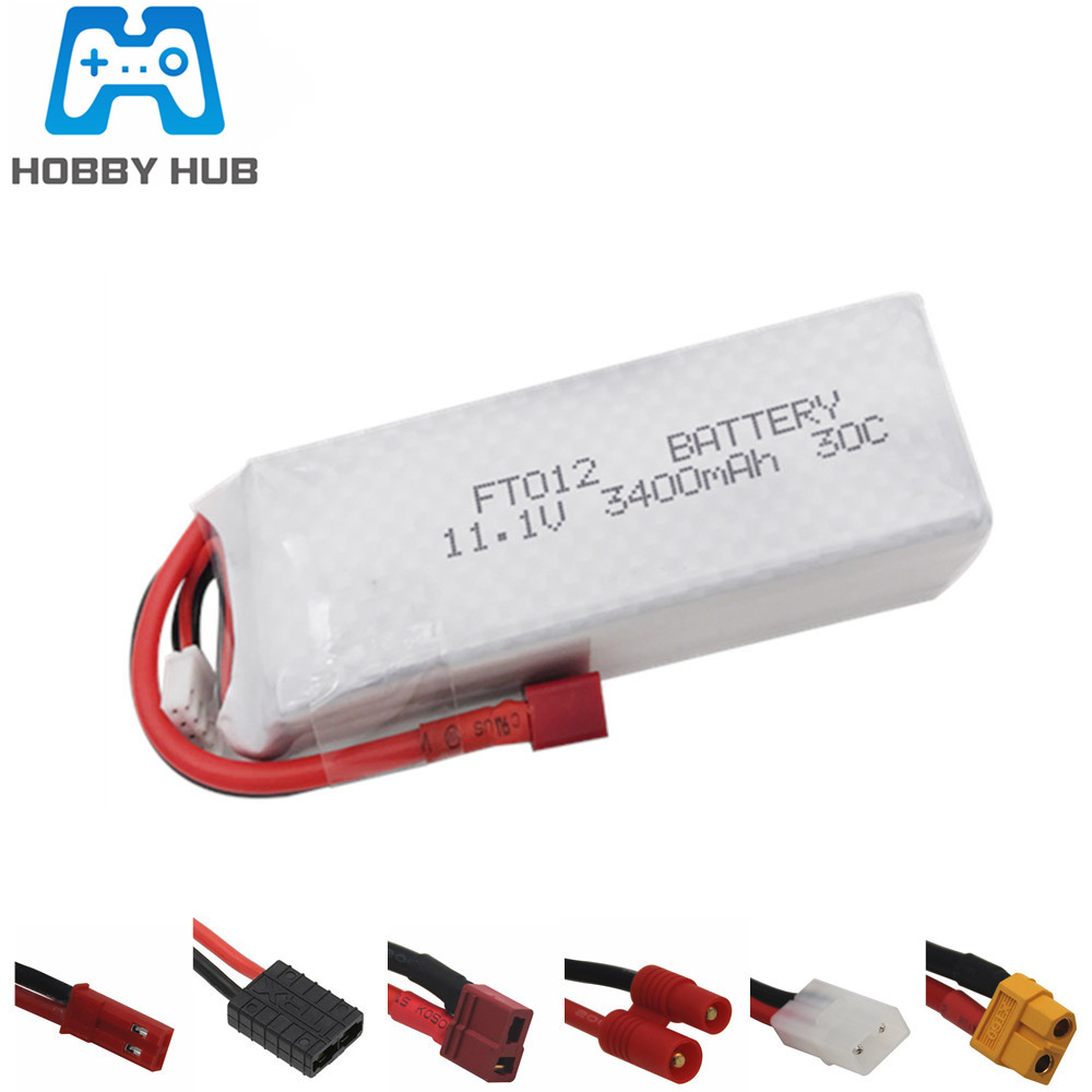 11.1V 3400mah 30C RC Lipo Battery For Feilun FT012 Huanqi 734 RC Boat Helicopter Quadcopter Parts 3s 11.1v Lipo Battery 1pcs