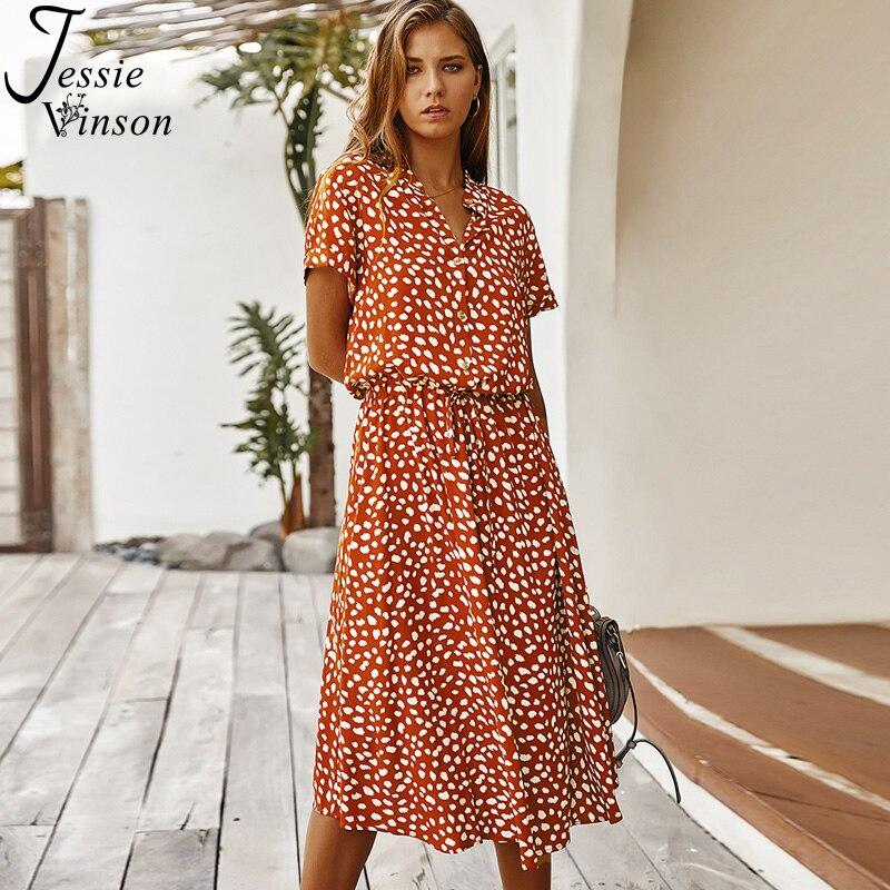 Jessie Vinson Dots Print White Summer Dress Women Short Sleeve Tunic Midi Dress Casual  Boho Beach Dress Vestidos 2020 ZA Dress 2