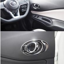 רכב קישוט פנים נירוסטה ידית לקצץ רכב סטיילינג כיסוי אביזרי לניסן הערה Versa Hatchback 2017 עד