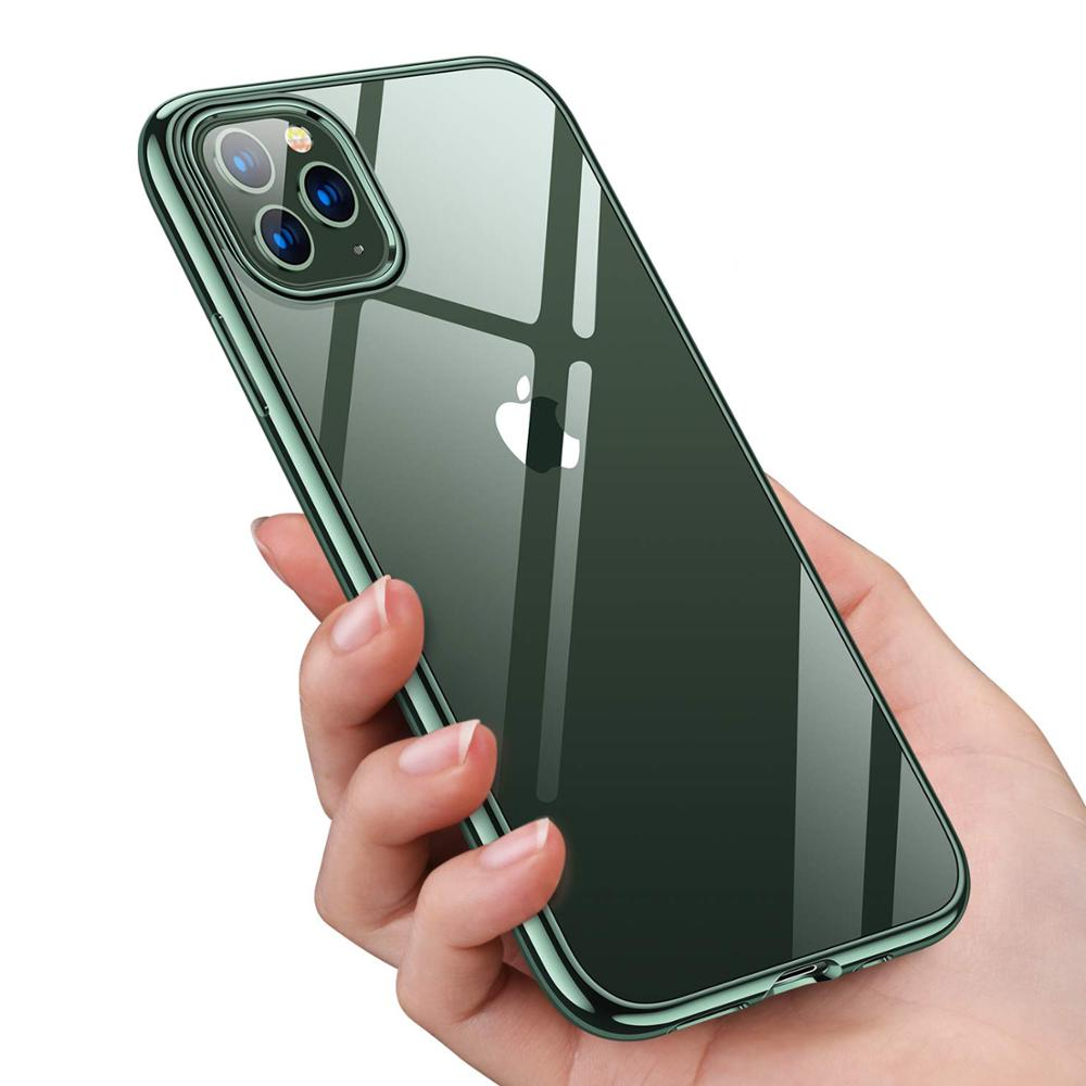 Cases For IPhone 11 Pro Max Xs XR ,Ultra Slim Thin Clear Soft Premium Flexible Chrome Bumper Transparent TPU Back Plate Cover