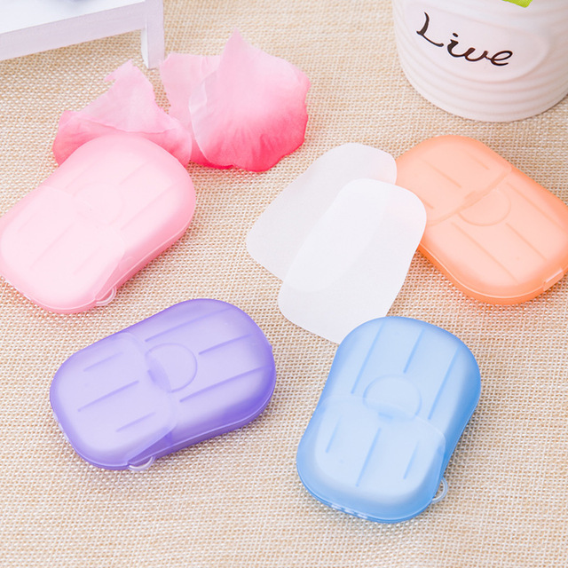 20/40/80PCS Disposable Soap Boxes Portable Travel Soap Paper Outdoor Washing Hand Bath Scented Slice Sheets Mini Soap 1