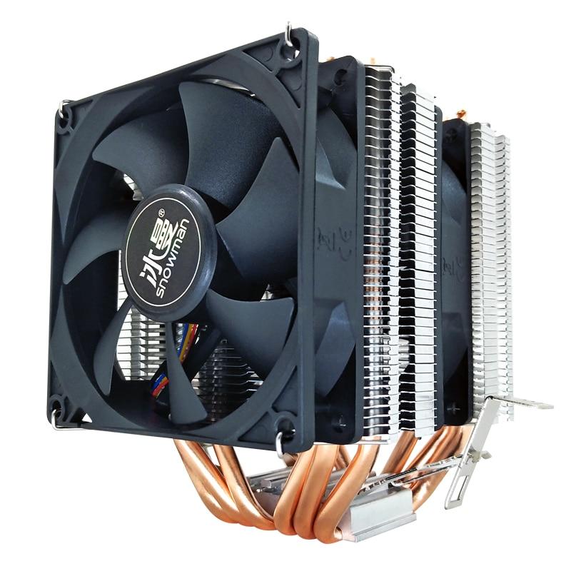 SNOWMAN 6 Heat Pipes CPU Cooler 4 Pin PWM RGB PC quiet Intel LGA 2011 775 1200 1150 1151 1155 AMD AM3 AM4 90mm CPU Cooling Fan 4