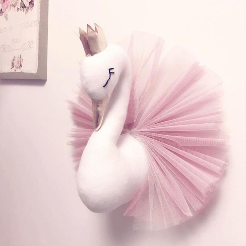 Soft Gold Crown Swan Doll Pink Plush Toy Wall Hanging Plush Stuffed Doll Princess Room Game House Decoration Gifts For Children