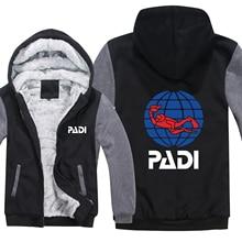 Pilote de plongée Padi Hoodies hommes Zipper manteau polaire épaissir Padi sweat shirt pull