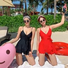 Kadın 2020 yaz mayo Push Up One Piece mayo kemer düz kore mayo mayo kadınlar etek mayo elbise