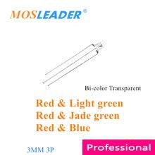 Mosleader 1000 pces led 5mm transparente redondo vermelho & verde rg rb bi color duas cores f5 comum ânodo cátodo 3 pinos