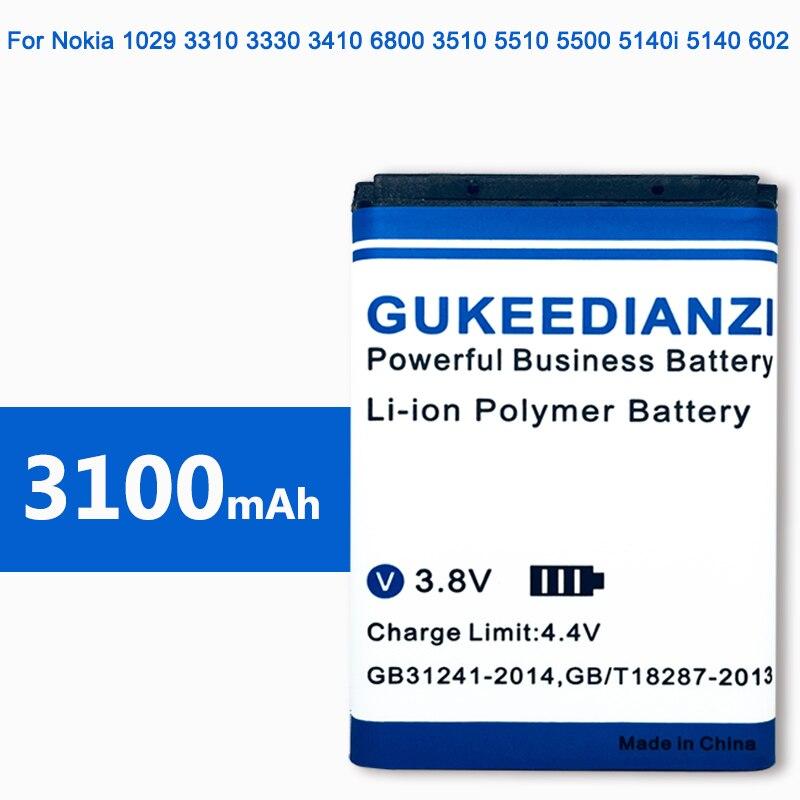 GUKEEDIANZI BL-5B BL5B BL 5B Battery For Nokia 3230 5070 5140 5140i 5200 5300 5500 6020 6021 6060 6070 6080 6120 3100mAh Battery(China)