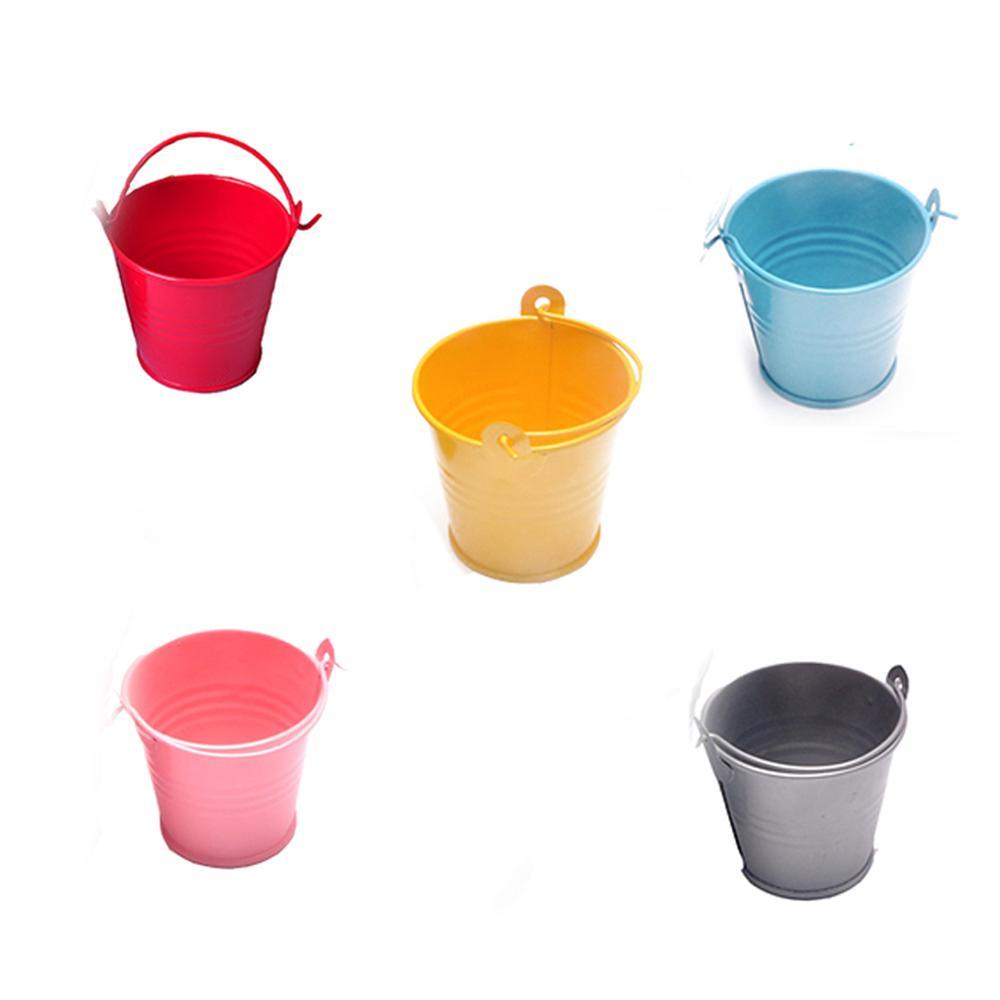 1PC Small Metal Buckets Tinplate Mini Bucket Flower Pots Home Decoration Iron Planters Wedding Party Planters Flower Pot Decor