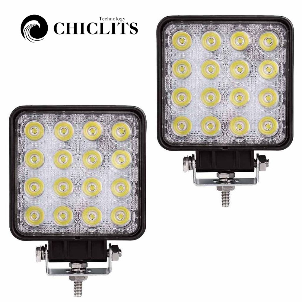 CHICLITS 2 Pcs 48W 6000k LED Spot Beam Square Work Lights Lamp Tractor SUV Truck 4WD 12V 24V Waterproof For The Kinds Of Vehicle