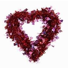 Rubia-guirnalda con forma de corazón para regalo de San Valentín, decoración para colgar en la ventana de 300x350mm, Material Madder
