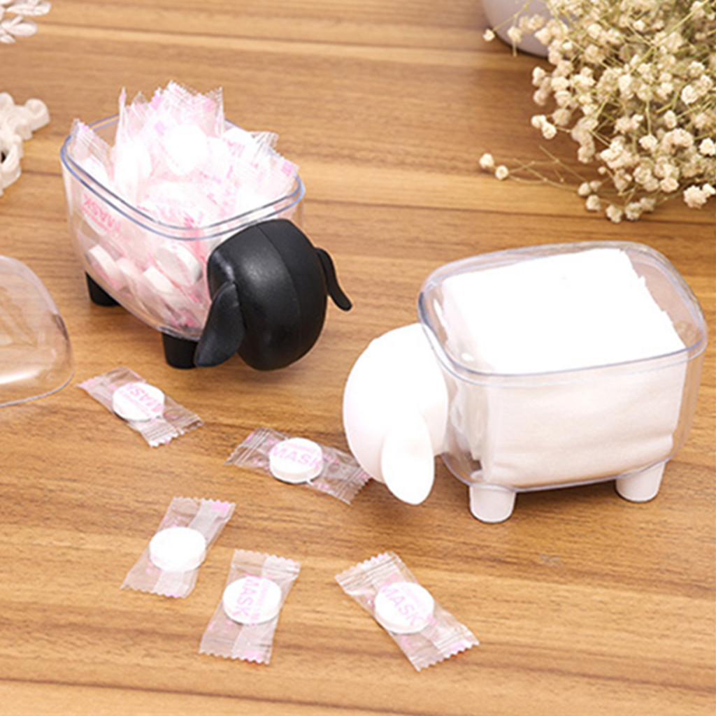 Decorate Base Toothpicks-Holder Cotton-Swab-Box Lotus Pe Sheep-Shaped D3