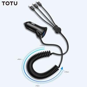 Image 2 - Cargador de coche TOTU 3 en 1, Cable de carga de teléfono, USB para Lightning Micro USB + tipo C 5V 3.4A, cargador de coche USB para iPhone, Xiaomi, Huawei