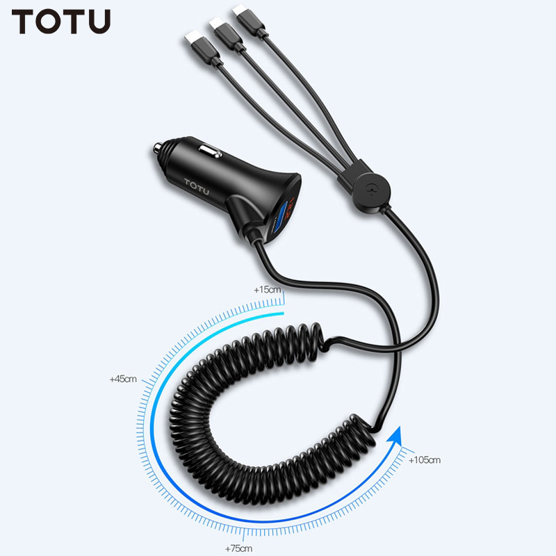 TOTU 3 in 1 Phone USB Charging Cable Mini Dual USB Car Charger For mobile phoneCar Chargers   -