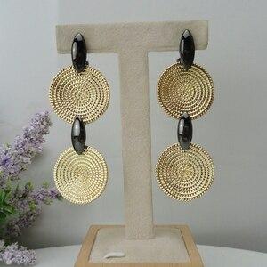 Image 1 - Yuminglai 24K 두바이 골드 귀걸이 여성을위한 브라질 귀걸이 FHK8462