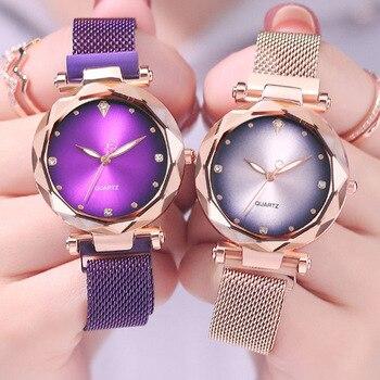 Luxus Rose Gold Frauen Uhren Modus Diamant Damen Starry Sky Magnet Uhr Wasserdichte Weibliche Armbanduhr Pelz Geschenk Uhr 2019