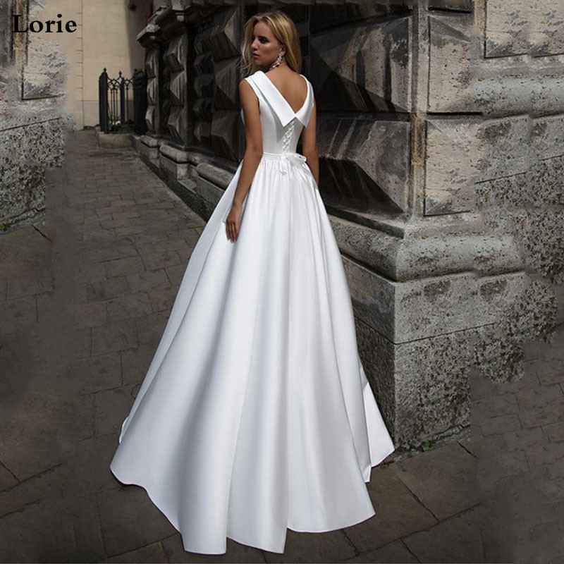 LORIE A Line Boho Wedding Dress Doll Collar Vintage Sleeveless Bridal Dress 2019 Lace Up Back Wedding Gown Floor Length