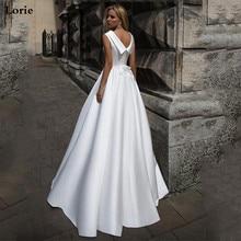 LORIE MỘT Dòng Đời Boho Áo Cưới Búp Bê Cổ Vintage Áo Đầm Cô Dâu 2019 Phối Ren Lưng Áo Cưới Tầng Chiều Dài