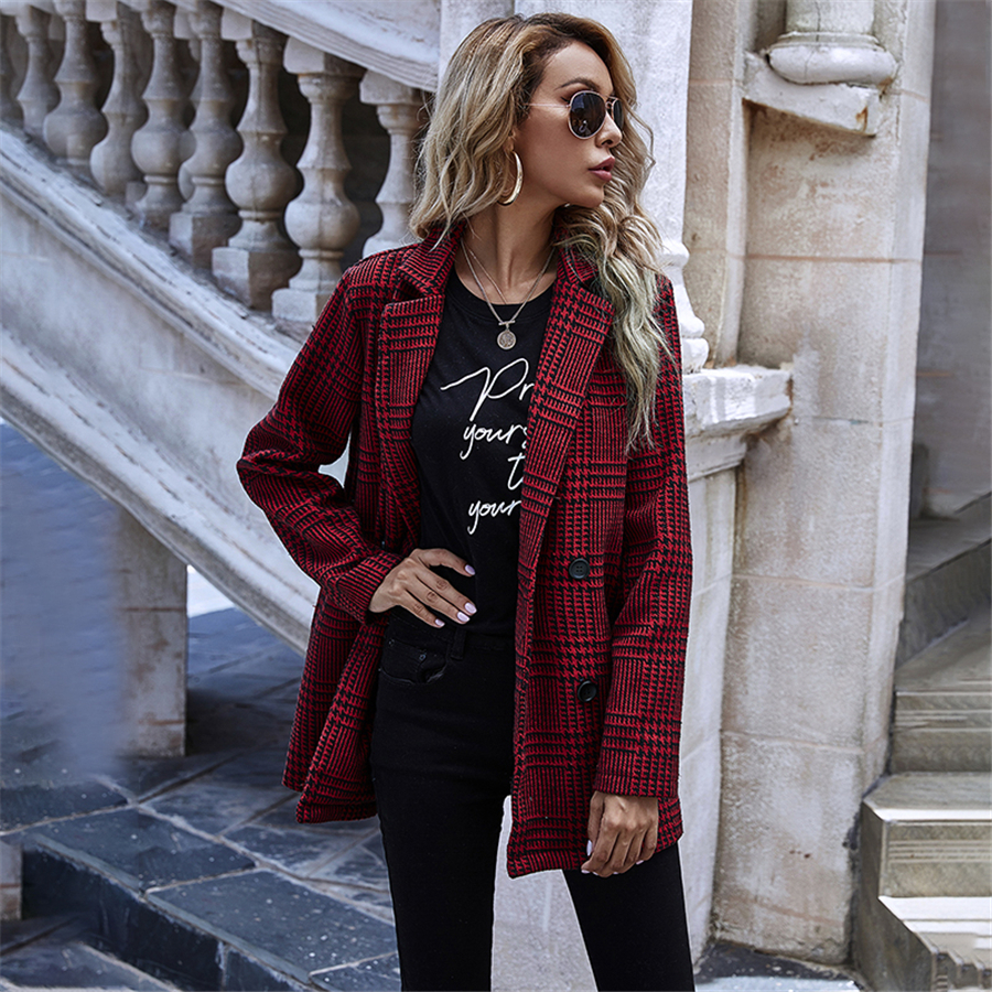 Autumn winter fashion new popular selling thousands of birds box conventional small suit versatile outfit party casual women