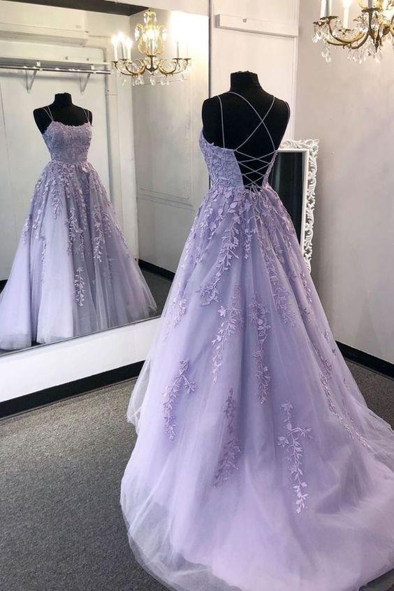 Lila Spitze Prom Kleid 2021, Abend Party Kleid, Tanz Kleider, Graduation Schule Party Kleid
