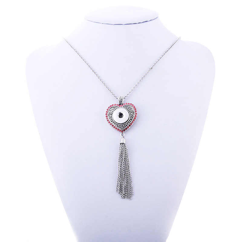 2019 Newest 18mm Snap Button Jewelry Love Heart Long Tassel Necklace Jewelry with Chain Fit 18mm Snap Necklace Pendant Jewelry f