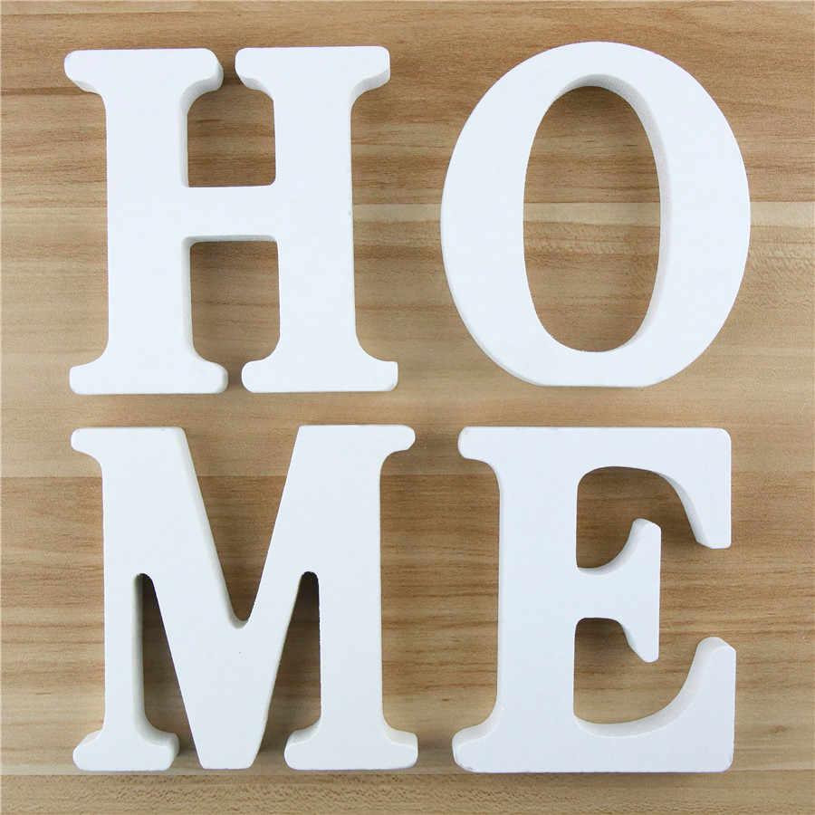 1 PC 10 Cm Kayu Alfabet Huruf Kata Huruf Putih Nama Desain Seni Kerajinan Berdiri DIY Ulang Tahun Pernikahan Dekorasi Rumah 3.94 Inci