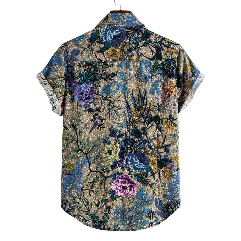 Short Sleeve Baggy Hawaiian mens harajuku shirt Plus Size Cotton Linen printed shirts summer men blouse chemise homme 2
