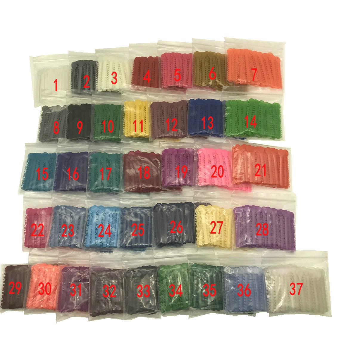 1 Bag Dental Orthodontic Ligature Ties Elastic Rubber Bands 37 Colors 1040 Pcs