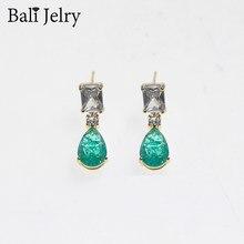 BaliJelry Retro kolczyki ze srebra próby 925 biżuteria Emerald cyrkon Gemstones spadek kolczyki dla kobiet ślub przyjęcie zaręczynowe akcesoria