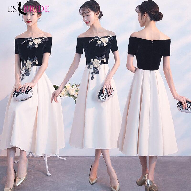 Sexy Homecoming Dresses ES30040 A-Line Off Shoulder Black Champagne Graduation Dresses Vestido De Formatura
