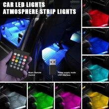 48 LED 5V Interior Accent Kit Car Light Lamp Strip Decorative Atmosphere Lights Wireless Remote Control