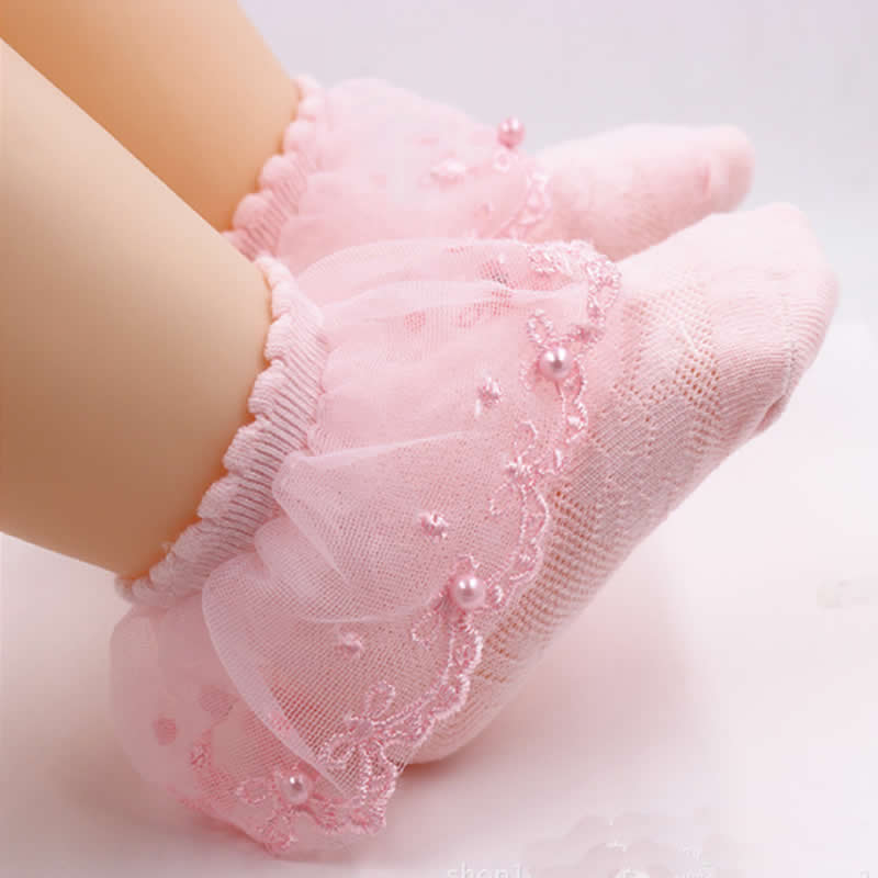 Toddler Lace Socks Baby Ruffles Socks Comfortable Baby Girls Lace Socks Infant Newborn Lace Socks With Pearl On Top