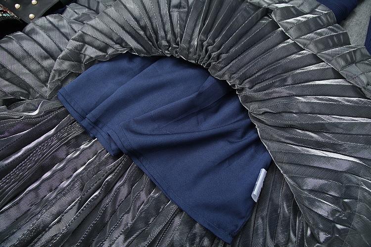 Nuovo 2019 autunno inverno maglia della rappezzatura della maglia del vestito a maniche lunghe fit e flare midi abiti nero blu - 4