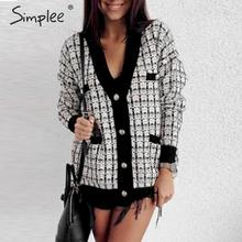 Simplee Cotton tweed plaid women knitted cardigan sweater Single breasted female