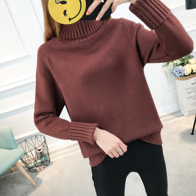 14 цветов,, осенне-зимний свитер, Женский вязаный свитер с высоким воротом, повседневный мягкий модный тонкий женский эластичный пуловер NS9097 - Цвет: zongse