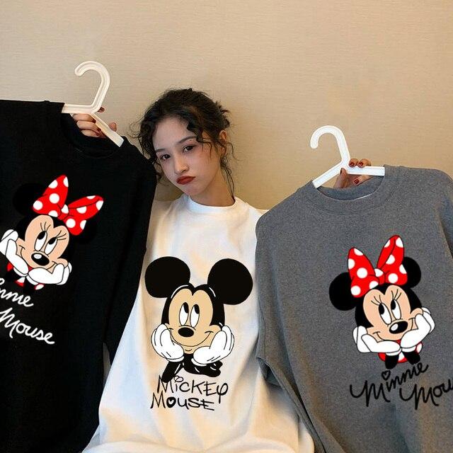 Disney cartoon Mickey Tshirt Tops Summer casual oversized Women T-shirts Ulzzang hip hop Streetwear Harajuku short sleeve tshirt 1
