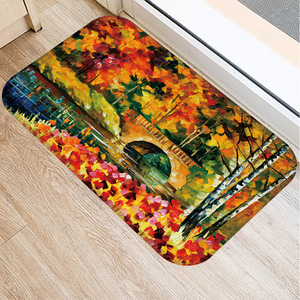 Image 5 - 40*60 センチメートル油絵風景マット非スリップスエードカーペットドアマットキッチンリビングルームのフロアマットベッドルーム装飾フロアマット。