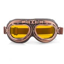Gafas retro para motocicleta, gafas Vintage para Moto, gafas clásicas para Harley Steampunk ATV, casco de cobre para bicicleta
