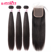 Hair Weave Bundles Closure West-Kiss Brazilian-Hair Remy 3 Straight with 4x4 Lace 8-28-