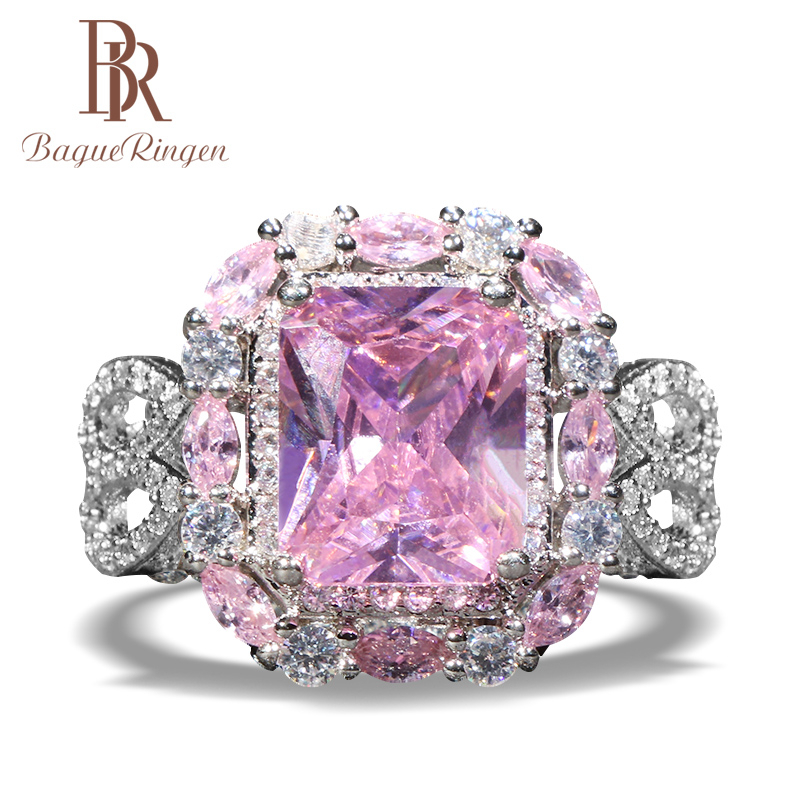 Bague Ringen Top Quality Women Engagement Ring With Square Size Gemstones Pink/yellow/white Color Silver 925 Jewelry Lady Gift