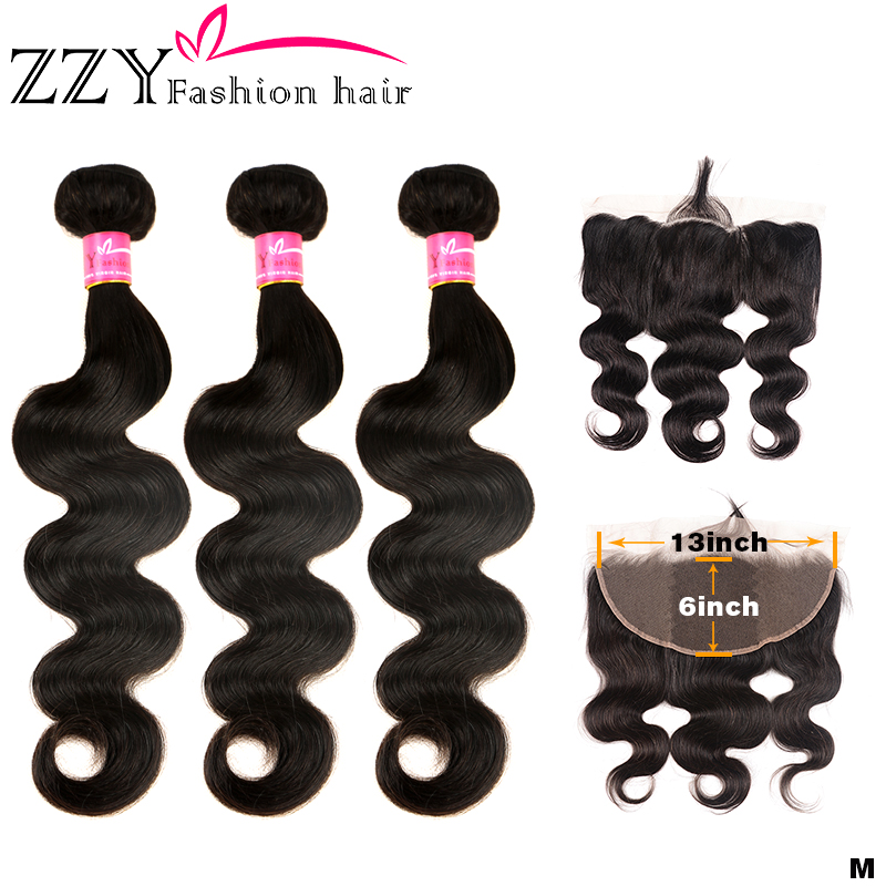 ZZY Fashion Bundles With Lace Frontal Closure Non-remy Brazilian Body Wave Human Hair Weave Bundles With  13*6 Frontal Closure