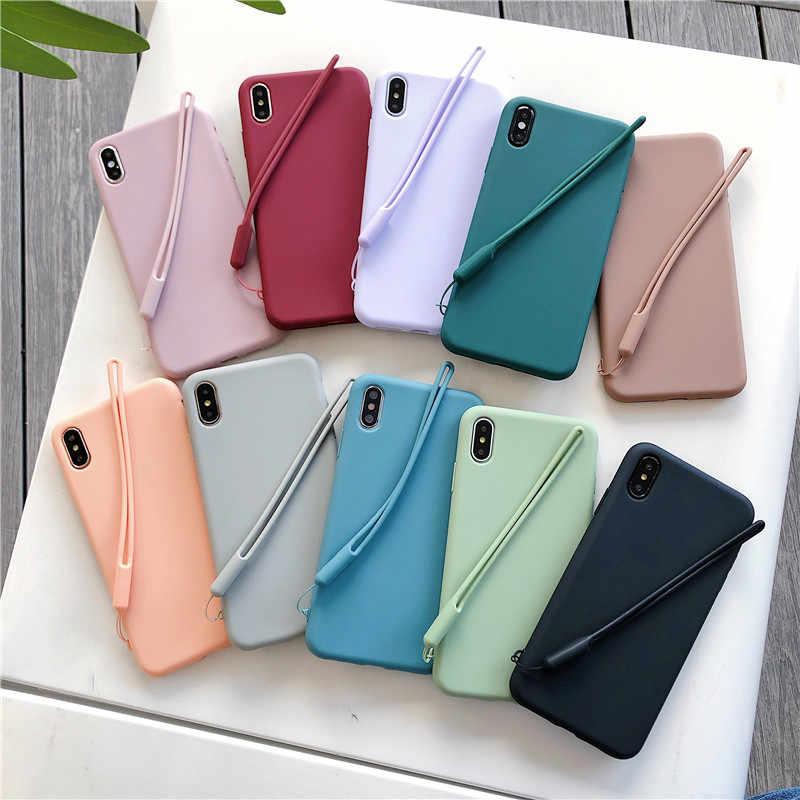 Мягкий силиконовый чехол для телефона ярких цветов для iphone X XS чехол для MAX XR для iphone 7 8 6 6s Plus однотонный ТПУ ремешок на запястье задняя крышка